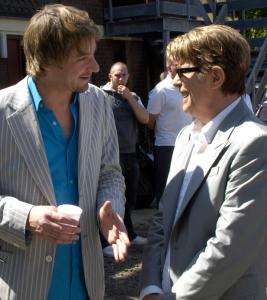 Clifford Slapper with David Bowie (Photograph by Ray Burmiston)