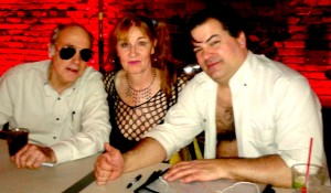 Anna with Mr Lahey (left) and Mr Randy at the Roxy nightclub