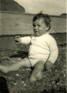 "I always thought this photo of me was rather charming. Someone once said to me: ""You weren't a pretty baby, then."" (Photo near Davaar Island, Scotland)"