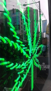 "Neon marijuana leaf advertising a "" clinic "" on Granville Street"