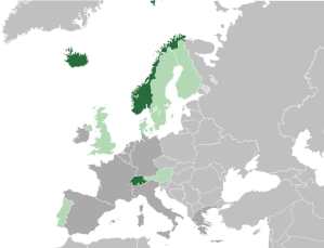 Wikipedia's map of the current EFTA (dark green) showing ex-EFTA members who are now EU members (light green0