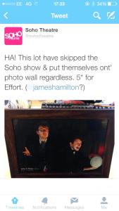 The Soho Theatre's Tweet yesterday about Ellis & Rose