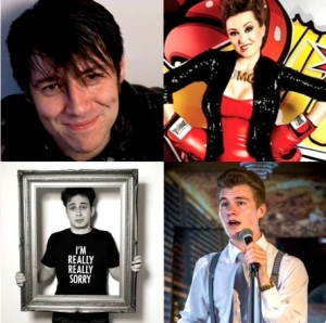 The first Happy Hour guests, clockwise from top left) Doug Segal, Eleanor Conway, Matt Francis, James Hamilton