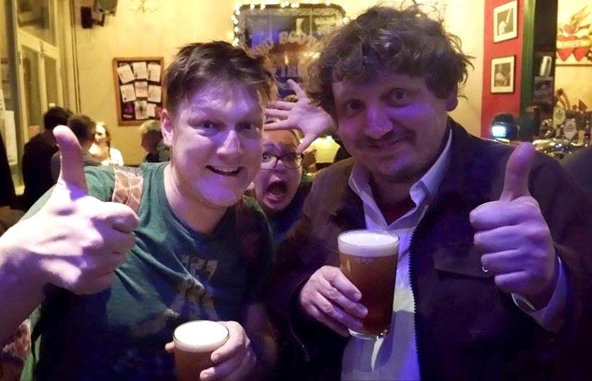 Producer/director Simon Jay (left) & Mr Twonkey (right) after Jennifer's Robot Arm show last night.