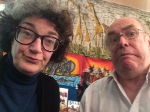 Copstick and me, both bemused, at the Grouchy Club Podcast yesterday