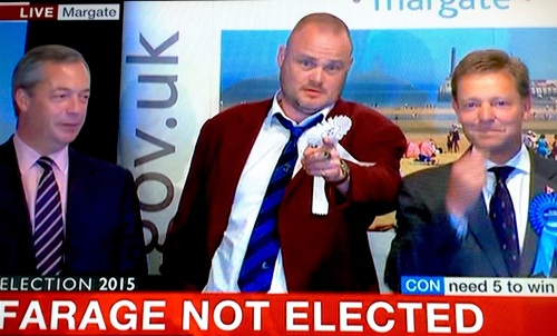 Nigel Farage (left), comic Al Murray (centre) & Thanet South winner, Conservative Craig Mackinley