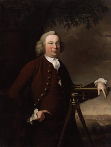 James Brindley with his Barton Aqueduct in the background (by Francis Parsons, 1770)