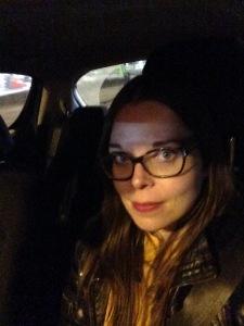 Juliette Burton's selfie in a car last night