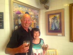 Lynn Ruth Miller  + Roy Brown of Bardsleys Fish & chip shop, Brighton
