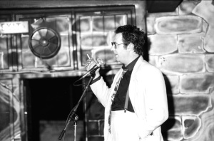 Malcolm Hardee on stage at The Tunnel (Photograph by Bill Alford)