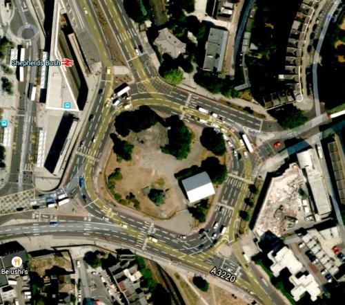 Shepherd's Bush roundabout from Google Maps
