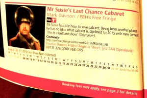 Mr Susie's listing in the Fringe Programme
