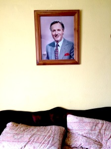 The photo of Nicholas Parsons above my bed