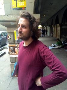 Alexander Bennett in Edinburgh street scene