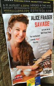 A street poster for Alice's Savage show