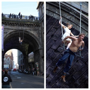 The dangling Dolls duo above the Cowgate (Photograph  by Garry Platt)