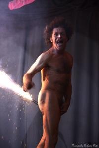 Chris Lynam with a banger-up-the-bum last night (Photograph by Garry Platt)