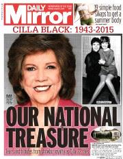 Daily Mirror announces Cilla's death