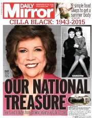 Daily Mirror announces Cilla's death