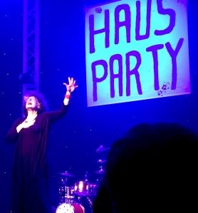 Kate Copstick lip-syncing at the Haus Party