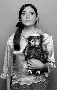 Harriet Kemsley with an owl