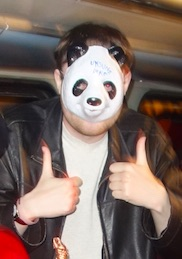 Ian Wolf - proud winner of a panda mask