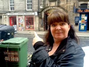 Janey points out her favourite shop