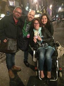 The Italian Puma comics last night (from left): Giacinto Palmieri, Luca Cupani, Romina Puma, Giada Garofalo