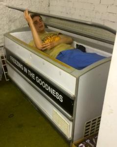 Joz Norris in a freezer last night