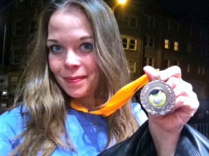 Juliette Burton with Russian Egg Roulette medal