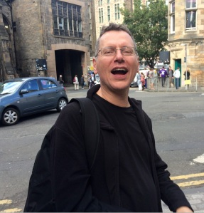 Nick Awde singing opera in the streets of Edinburgh yesterday