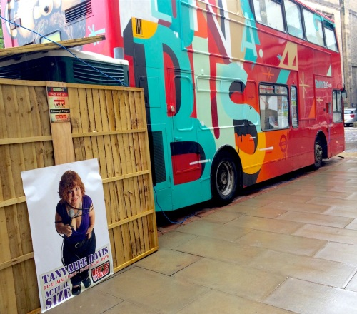 Life-size poster of Tanyalee Davis by the BlundaBus