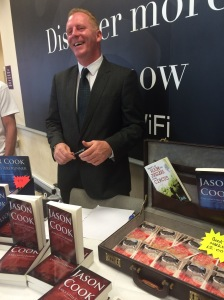Jason Cook, yesterday. In the case were £50 bookmarks