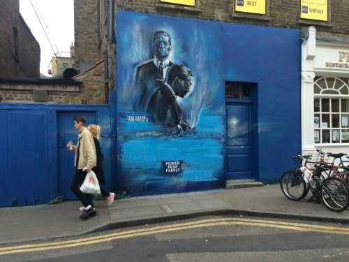 A piece of street graffiti in London's Easy End last week, promoting the release of the Krays movie Legend