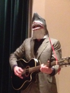 A man in a shark's head in Willesden (Photo by Claire Smith)