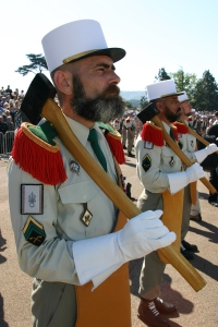 French Foreign Legion Pioneer wearing off-the-shoulder buffalo leather apron