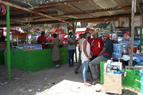 The Mama Biashara HQ at the Nairobi Showgrounds this week (Doris, centre in red)