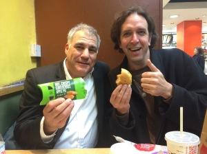 Lewis Schaffer (left) with Will/Sarah Franken and apple pie/cheeseburger