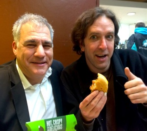 Lewis Schaffer (left and Will Franken sharing fast food