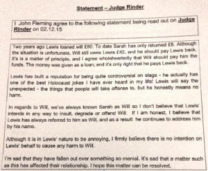 My statement for the Judge Rinder programme