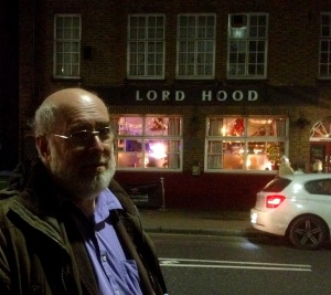 Last night, outside the doomed Lord hood pub