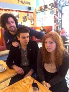 From left, Malcolm Highton and Joz Norris admire new Weirdo Eleanor Morton
