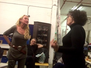 Sara Mason (left) faces up to Kate Copstick at the Grouchy Club