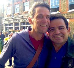 Scott Capurro (left) in London with his husband Edson