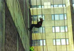Trish Bertram abseils down a building in 2000 (don't ask)