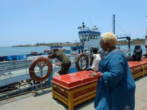 Doris at the ferry in Mombassa