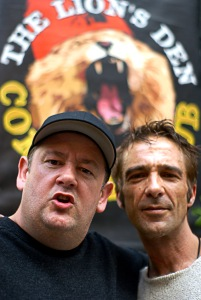 Comic Johnny Vegas (left) with Tim at the Lion's Den