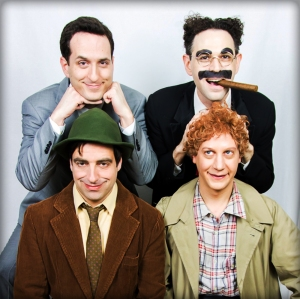 (Top to bottom; L-R - (Photo by Mark X Hopkins)) Matt Walters as Zeppo, Noah Diamond as Groucho, Matt Roper as Chico, and Seth Sheldon as Harpo
