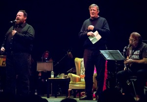 (L-R) Michael Livesley, Stephen Fry & Rod Slater re-create Sir Henry at Rawlinson End