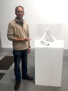 Mike Freedman with Duchamp's urinal, not taking the piss
